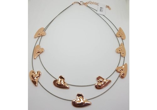 Rose Gold Wired Heart Necklace