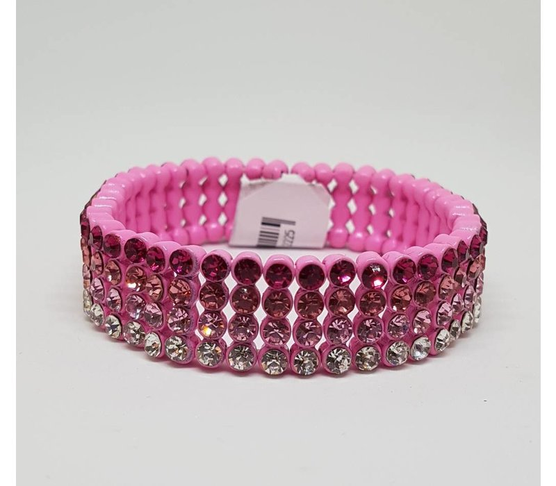 Elasticated Pink Gem Bracelet