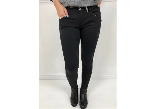 VICTORIA Frayed Hem Super Stretch Jeans (2 Colours)