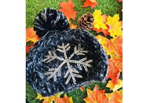 SUZY Diamante Snowflake Pom Pom Hat