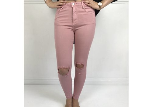 Blush Pink KYLIE  Distressed Denim Jeans Size 8