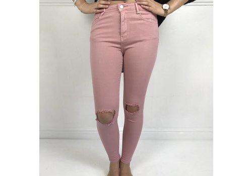 Blush Pink KYLIE  Distressed Denim Jeans