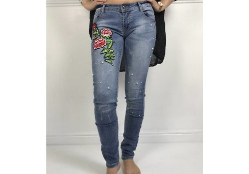 Embroidered Rose Pearl Jeans