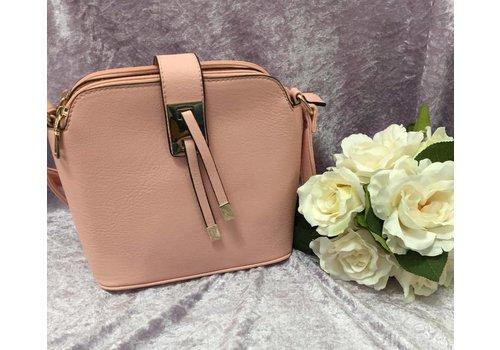 Pink Triple Compartment  Crossbody Bag