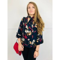 Navy MILA Floral Bow Blouse