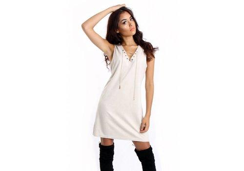 Cream Faux Suede Dress