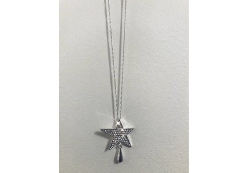 Silver Diamanté Star Necklace