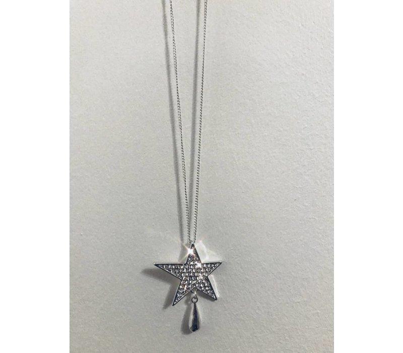 Silver Diamanté Star Necklace