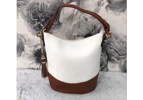 White & Tan Tassel Bag