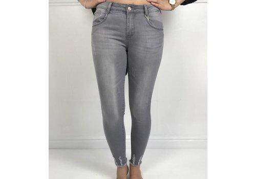 Grey IZZY Stretch Distressed Denim Jeans Size 8