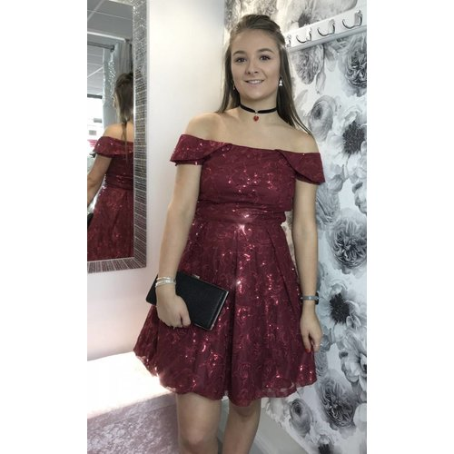 CASEY Sequin Bardot Burgandy Skater Dress