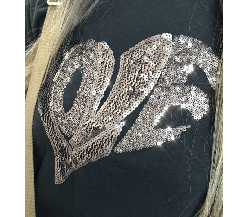 "Black/Gold LARA Sequin ""Love"" T Shirt"