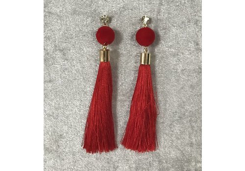 Gem Pom Pom Tassel Earrings (2 colours)