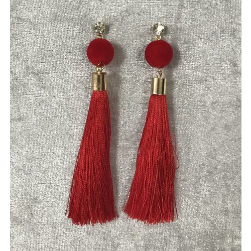 Silver Gem Pom Pom Red Tassel Earrings