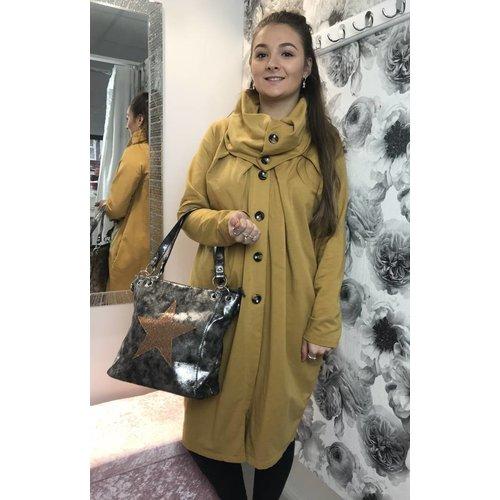 Mustard POPPY Cowl Neck Coat