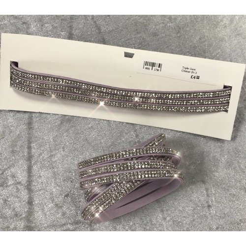 Lilac Suede Gem Triple Strand Choker/Bracelet