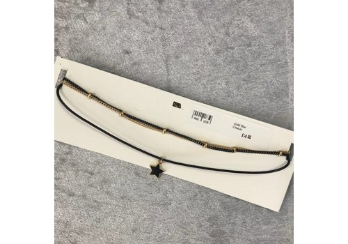 Gold Star Leather Look Choker