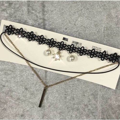Gold Bar Pearl & Gem Shoelace Lace Choker