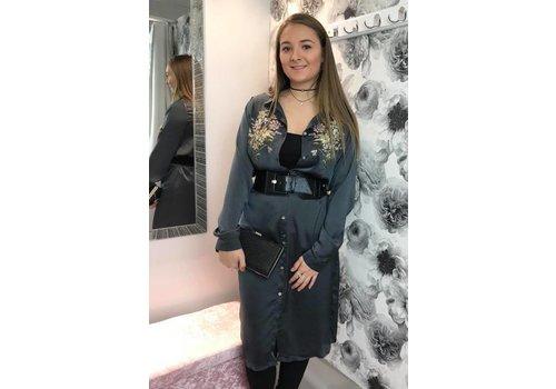 ASHLEY Silky Floral Maxi Shirt Dress