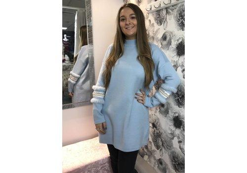 TARYN Gem & Fur Sleeve Jumper Dress