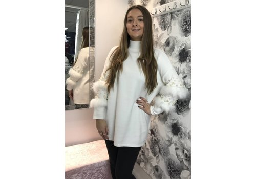ANGELA Pearl & Fur Sleeve Jumper Dress