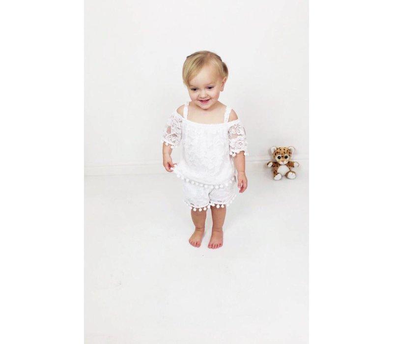 EVIE White Lace PomPom Set