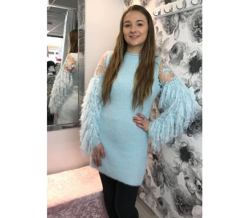 AMBER Lace & Fur Sleeve Jumper Dress (More Colours)
