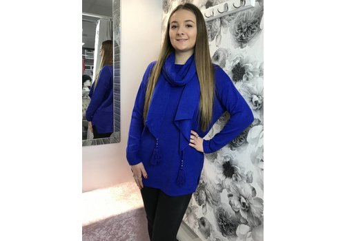 MEGAN Button Jumper With Tassel Scarf (More Colours)