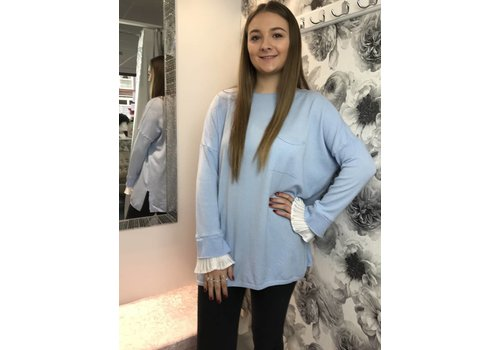 MORGAN Blue Frill Cuff Jumper