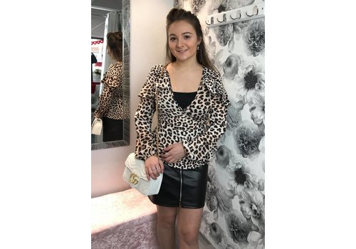 DELLA Leopard Ruffle Wrap Top