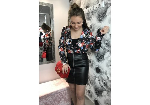 YVONNE Black Floral Plunge Neck  Bodysuit Bodysuit