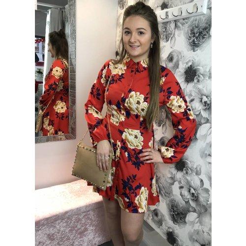 KRISTINA Red Floral Shirt Dress