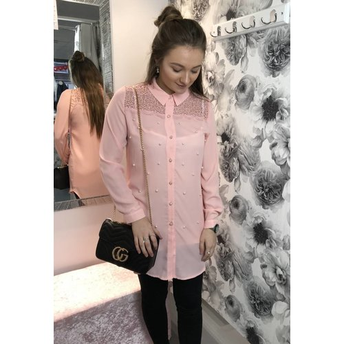 DIANE Pink Lace & Pearl Blouse