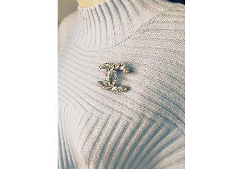 Silver Diamante CC Initial Brooch