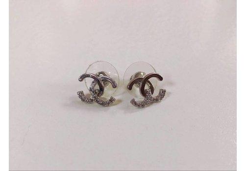 Silver Gem CC Initial Earrings