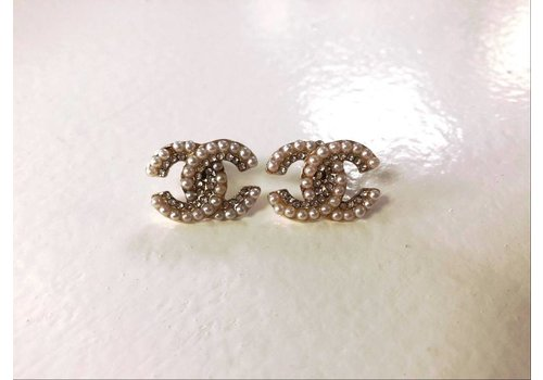 Gold Gem & Pearl CC Initial Stud Earrings