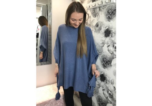 KIMBERLY Denim Blue Batwing Tassel Jumper