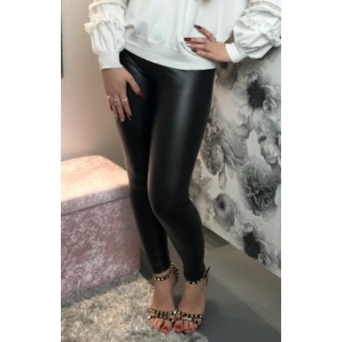 Lucy Black Leather Look PU Leggings