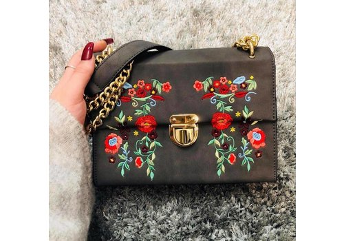 Floral Embroidered Chain Strap Grey Bag