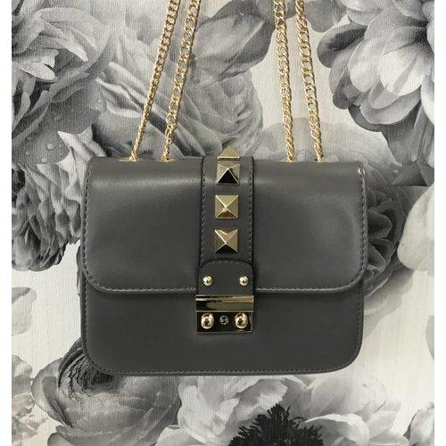 Gold Stud Grey Bag