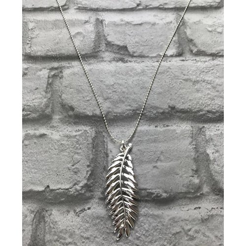 Silver Open Feather Pendant Necklace
