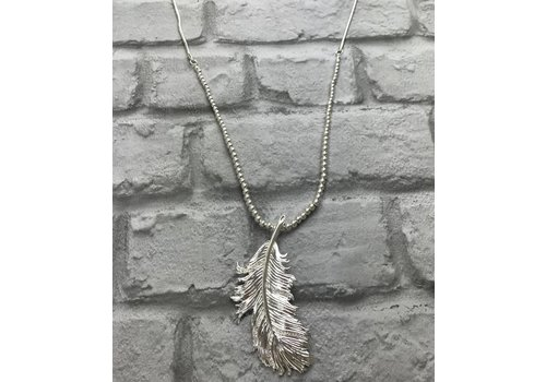 Silver Gem Feather Pendant Necklace