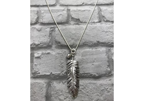 Silver Feather & Ball Pendant Necklace