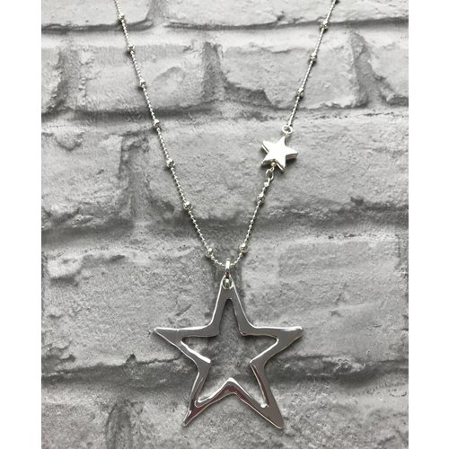 Silver Beaded Star Necklace