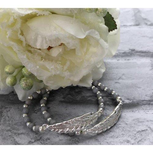 Silver & Grey Beaded Feather Double Bracelet
