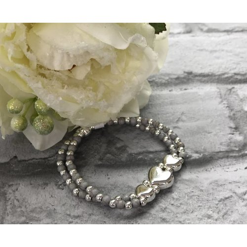 Silver & Grey Beaded Triple Heart Double Bracelet