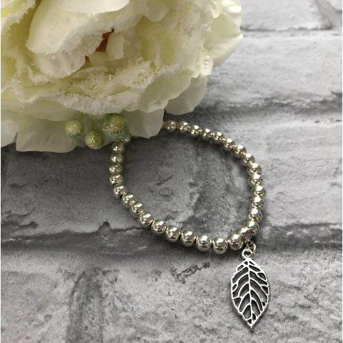 Silver Beaded Leaf Charm Bracelet