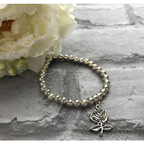 Silver Beaded Rose Charm Bracelet
