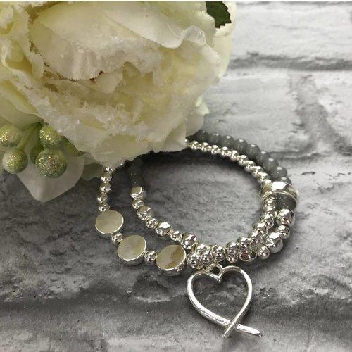 Silver & Grey Beaded Open Heart Double Bracelet