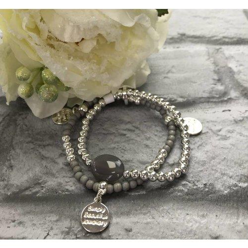 Silver & Grey Beaded Disc Charm Double Bracelet